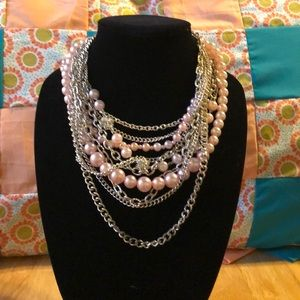 Pink and silver chain necklace